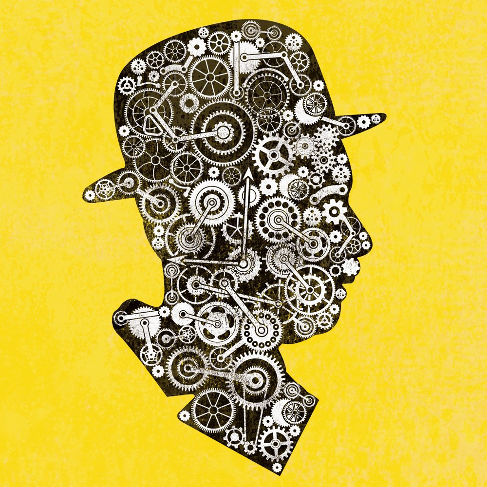 Ein Mann mit Hut, der aus lauter Schrauben besteht
