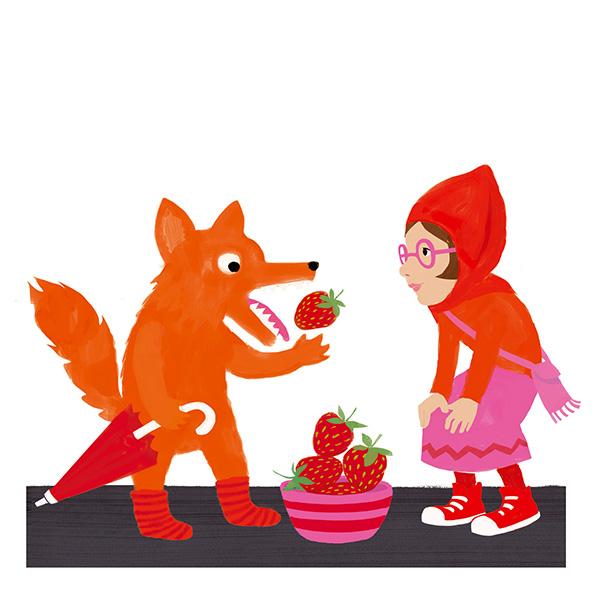 Illustration zeigt einen Wolf, der die Erdbeeren aus dem Korb von Rotkäppchen nascht