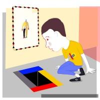 Vektorillustration zeigt eine Person die auf dem Boden sitzt und in ein buntes Loch schaut.