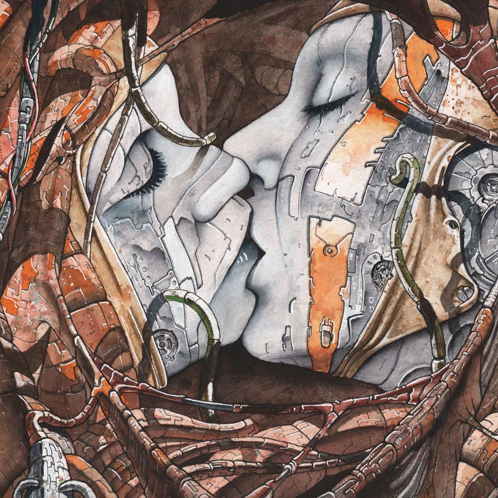 Die Illustration zeigt ein Paar (Cyborgs) was sich küsst.