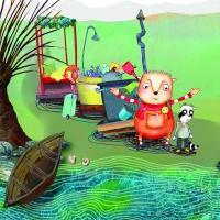Anton und Florian stehen mit ihrem ganzen Reisegepäck am Ufer vor ihrem kleinem Boot