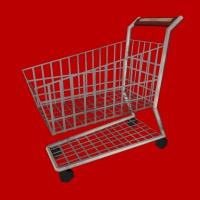 Vektorgrafik, die einen leeren Einkaufswagen zeigt mit rotem Hintergrund