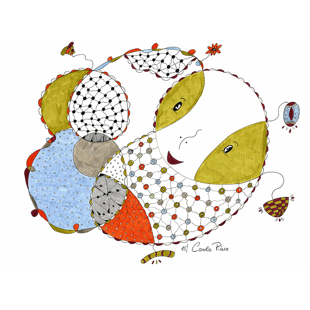 Fröhlich bunte Illustration eines aus feinen Linien gezeichneten freundlichen Wesen