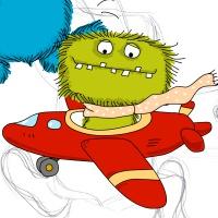 Illustration zeigt ein grünes Monster in einem Flugzeug sitzen