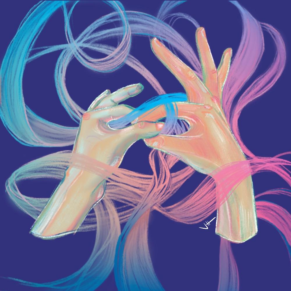 Illustration zeigt 2 Hände, die sich berühren