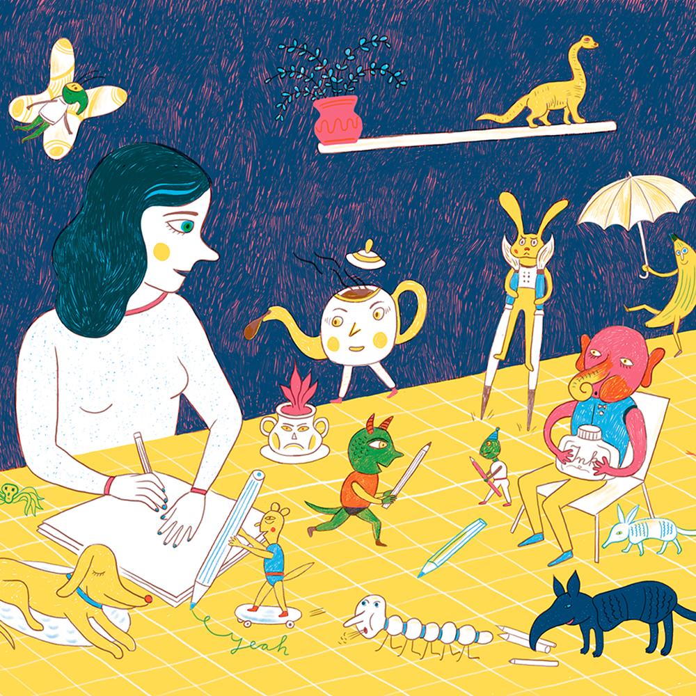Illustration die eine am Tisch sitzende Frau zeigt mit vielen lustigen und bunten Wesen und Gegenständen