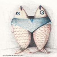 Illustration zeigt zwei Fische die sich umarmen