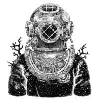 Illustration zeigt einen Taucher im Halbprofil