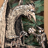 Illustration zeigt 2 Vögel. Der Kleinere schenkt dem Großen eine Blume