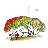 Aquarell, dass einen alten Mann auf einer Bank sitzend vor einem Baum, mit Blättern in Herbstfarben, zeigt