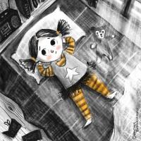 Die Illustration zeigt ein Mädchen nachdenklich in ihrem Bett liegen