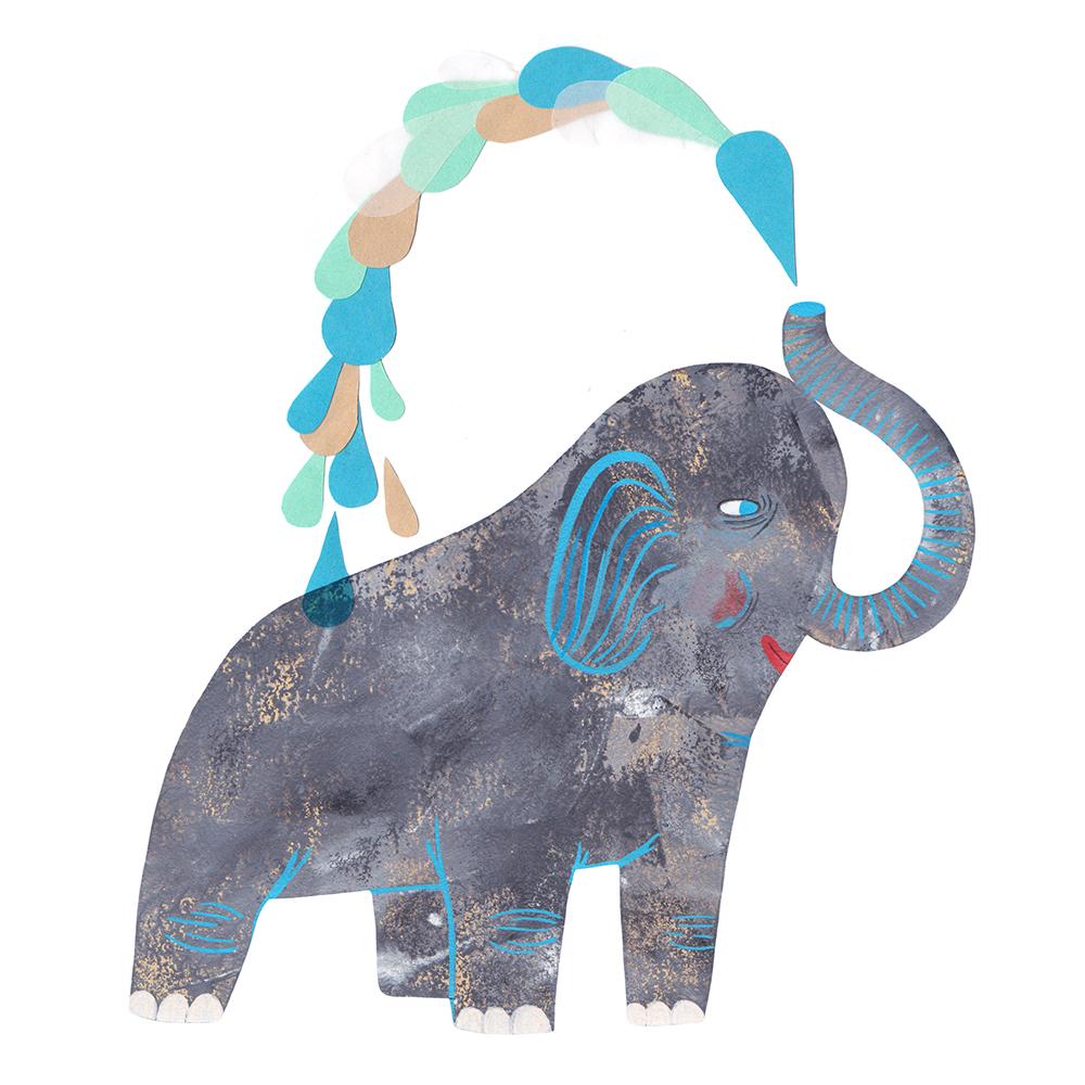 Die Illustration zeigt einen Elefanzen, der mit seinem Rüssel Wasser über sich spritzt