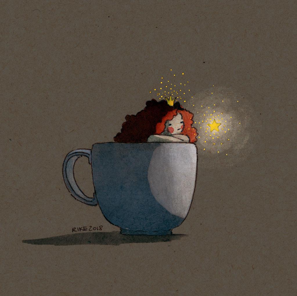 Die Illustration zeigt eine kleine rotharrige Prinzessin in einer Tasse sitzend