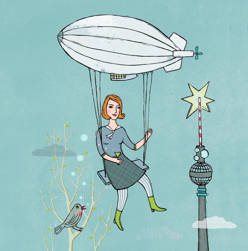 Die Illustration zeigt eine Frau per Zeppelin über Berlin fliegen