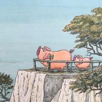 Piggeldy und Frederick stehen auf den Kreidefelsen auf Sylt